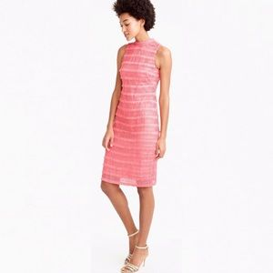 J. Crew Fringy lace coral sheath dress 6